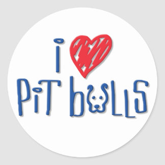 I Love Pit Bulls Classic Round Sticker