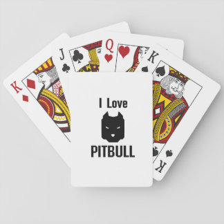I Love Pitbull  Dog Pet puppy Gift Funny Playing Cards