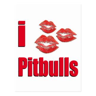 I Love Pitbull Dogs, Lipstick Kisses Crazy Postcard