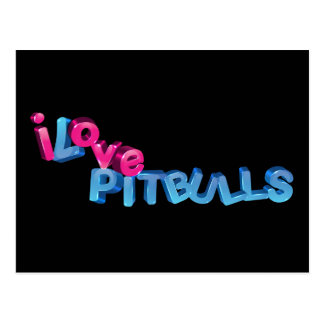 I Love Pitbulls in 3D Postcard