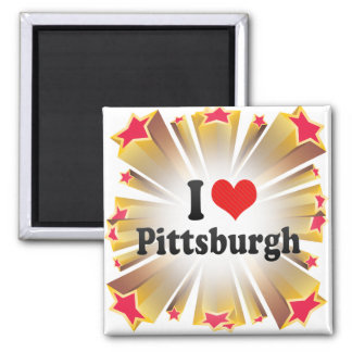 I Love Pittsburgh Square Magnet