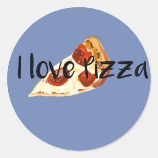 I love pizza classic round sticker