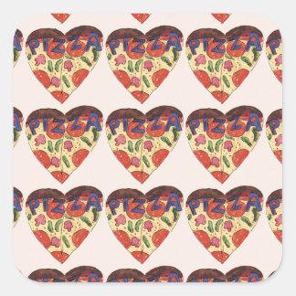 i love pizza square sticker