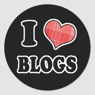 I Love (Plaid Heart) Blogs Classic Round Sticker