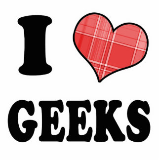 I Love (Plaid Heart) Geeks Photo Sculpture Ornament