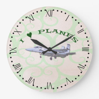 I Love Planes - F15D Eagle - with Roman Dial Large Clock