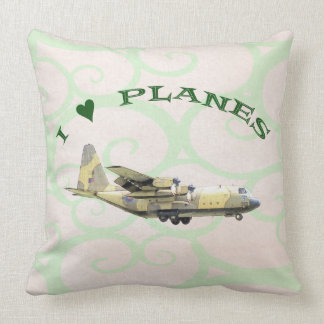 I Love Planes - Hercules Aircraft Throw Pillow
