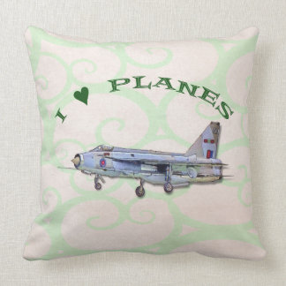 I Love Planes - Lightning Jet Throw Pillow