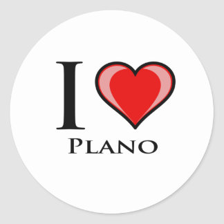 I Love Plano Round Sticker