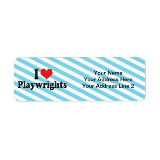 I Love Playwrights Return Address Label