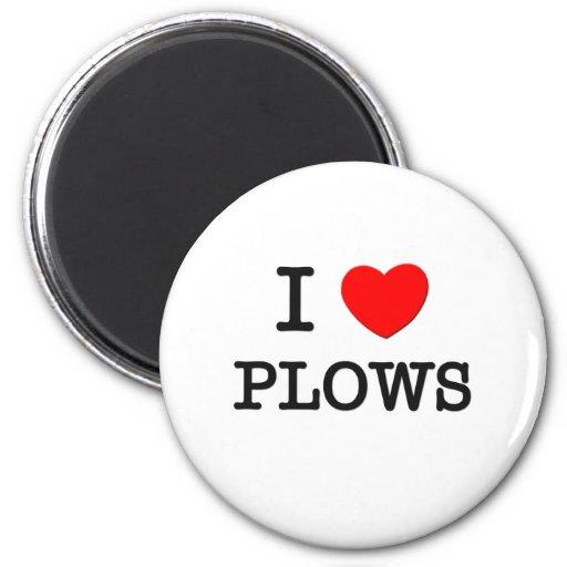 I Love Plows Refrigerator Magnet