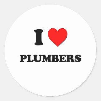 I Love Plumbers Classic Round Sticker