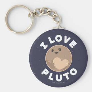 I Love Pluto Basic Round Button Keychain