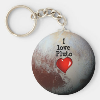I love Pluto red heart Basic Round Button Keychain