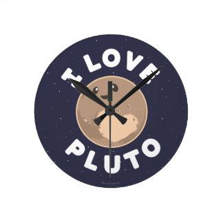 I Love Pluto Round Clock