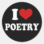 I Love Poetry Round Sticker