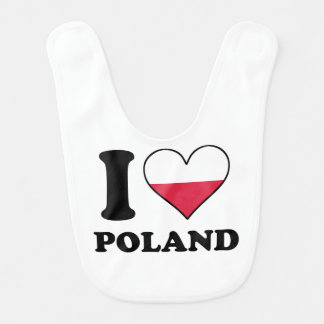 I Love Poland Polish Flag Heart Bib