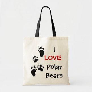 I LOVE POLAR BEARS BUDGET TOTE BAG