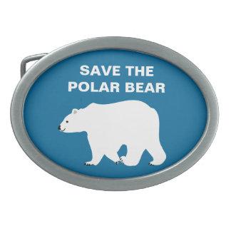 I Love Polar Bears - Save the Polar Bear Oval Belt Buckles