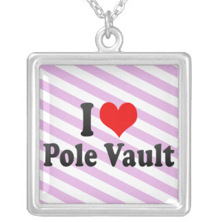I love Pole Vault Silver Plated Necklace