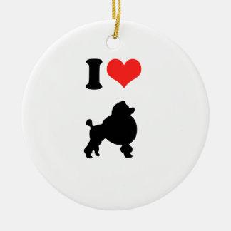 I Love Poodles Ceramic Ornament