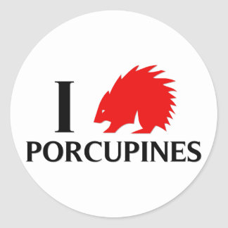 I Love Porcupines Classic Round Sticker