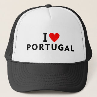 I love Portugal country like heart travel tourism Trucker Hat