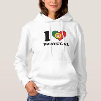 I Love Portugal Portuguese Flag Heart Hoodie