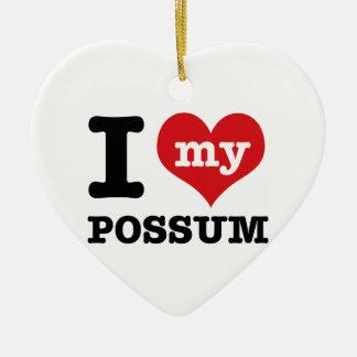 I Love possum Ceramic Heart Ornament