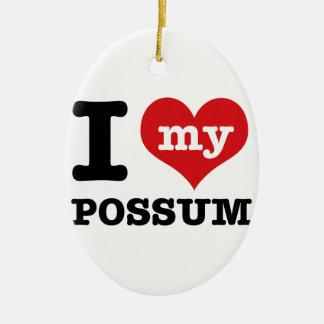 I Love possum Ceramic Oval Ornament