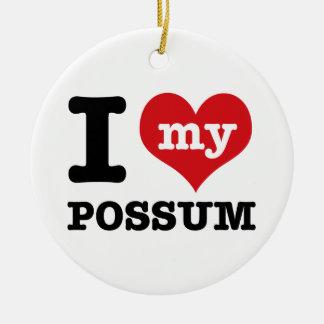 I Love possum Round Ceramic Ornament