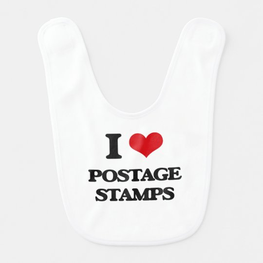 I Love Postage Stamps Baby Bibs
