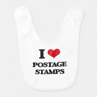 I Love Postage Stamps Bib