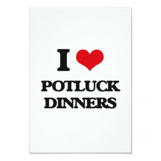 "I Love Potluck Dinners 3.5"" X 5"" Invitation Card"