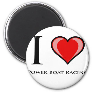 I Love Power Boat Racing 2 Inch Round Magnet