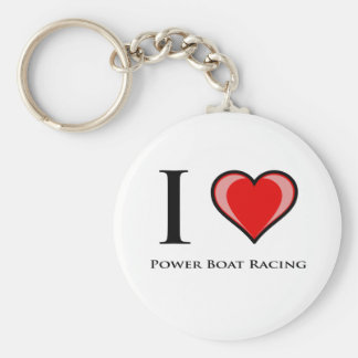 I Love Power Boat Racing Basic Round Button Keychain