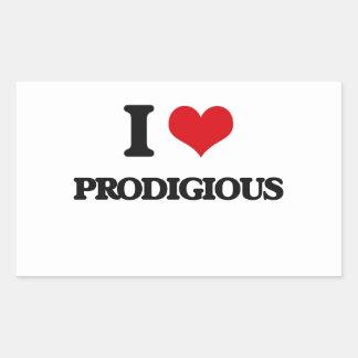 I Love Prodigious Rectangular Sticker