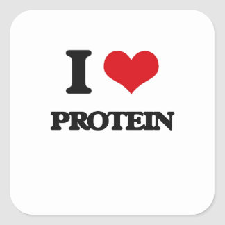 I Love Protein Square Sticker