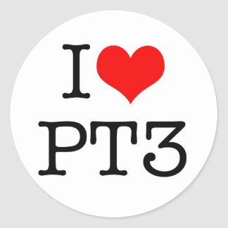 I love PT3 Classic Round Sticker