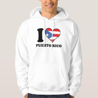 I Love Puerto Rico Puerto Rican Flag Heart Hoodie