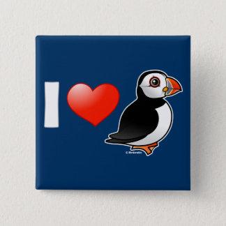 I Love Puffins 2 Inch Square Button