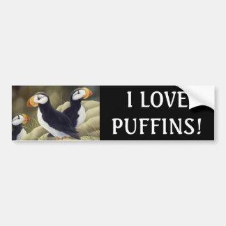 """""""I LOVE PUFFINS!"""" Bumper Sticker"""
