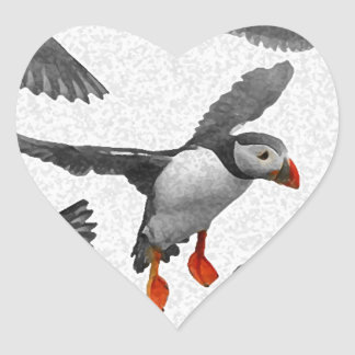 I Love Puffins! Heart Sticker