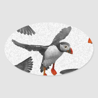 I Love Puffins! Oval Sticker