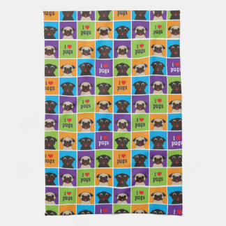 I love Pugs Blue Purple Lime Orange Squares Kitchen Towel