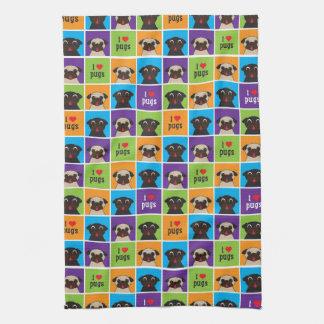 I love Pugs Blue Purple Lime Orange Squares Towel
