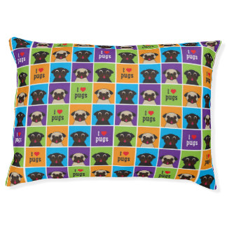 I Love Pugs Color Squares Dog Bed Large Dog Bed