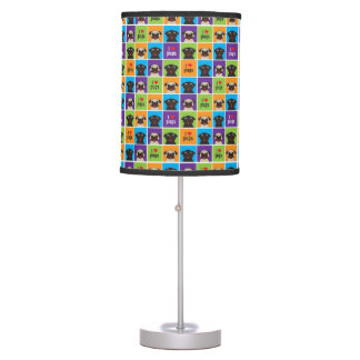 I Love Pugs Color Squares Fawn and Black Pugs Table Lamp
