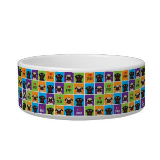 I Love Pugs Colour Squares Blue, Purple, Orange Bowl