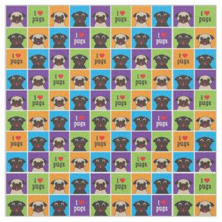I Love Pugs Colour Squares Fabric
